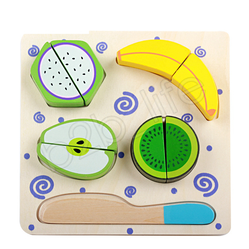 Kids Wooden Toy Kitchen Cut Fruits Vegetables Dessert Cooking Toys Educational Teaching Toy Children Intelligence Toys GGA1268