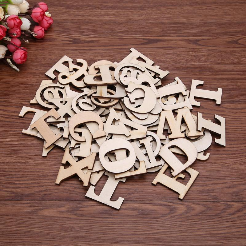 Wooden English Alphabet Letters Blocks Home Decoration Toys Early Educational Toy DIY Wood Crafts for Kids Child Gift