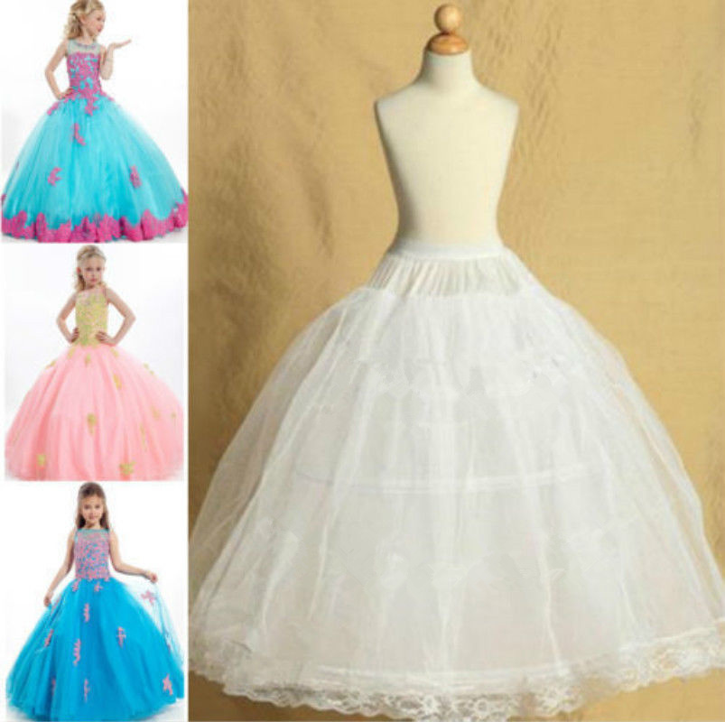 White Pettiskirt Wedding Flower Girl Petticoat For Children Underskirt Slips Fit Kid 8~14 Years