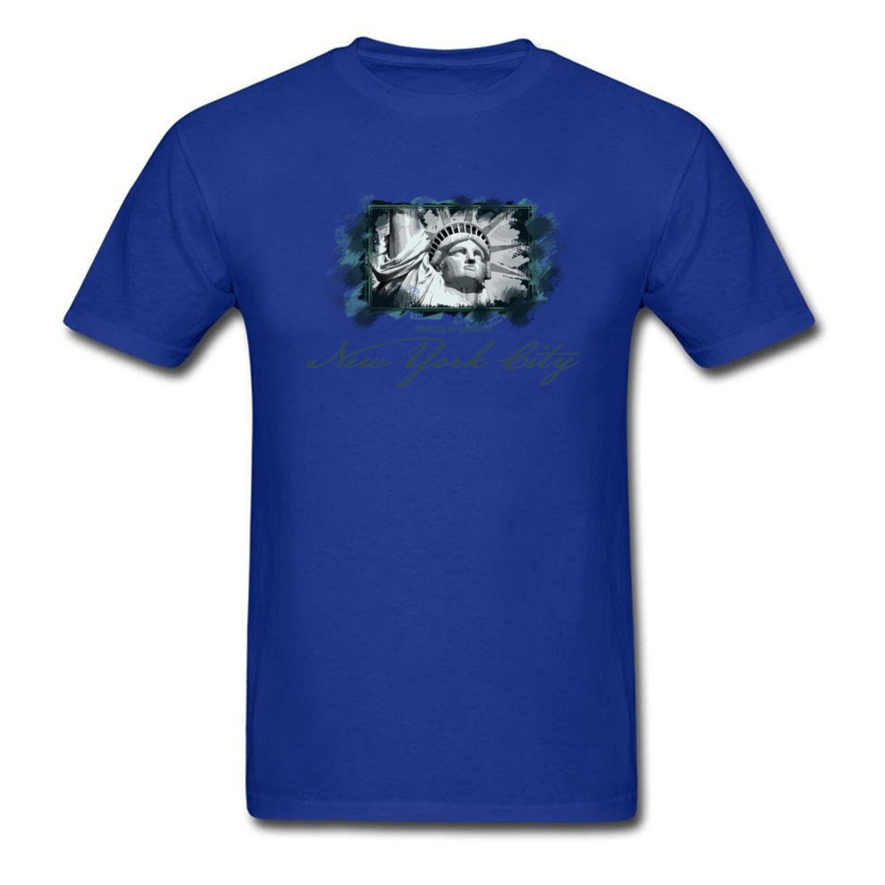 Tops Shirts Birthday Top T-shirts Summer Autumn 2018 New Fashion Group Short Sleeve 100% Cotton O Neck Men T Shirts Group New York City Statue of Liberty blue
