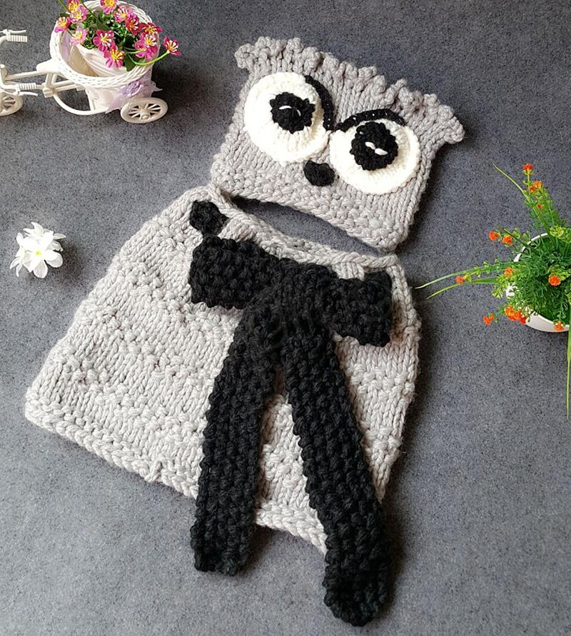 Kinder Eule stricken Hüte Schal Set Baby gestrickte Mützen Cartoon Winter Wolle Tiermütze INS Kinder Gestrickte Halstuch Hut GGA1025