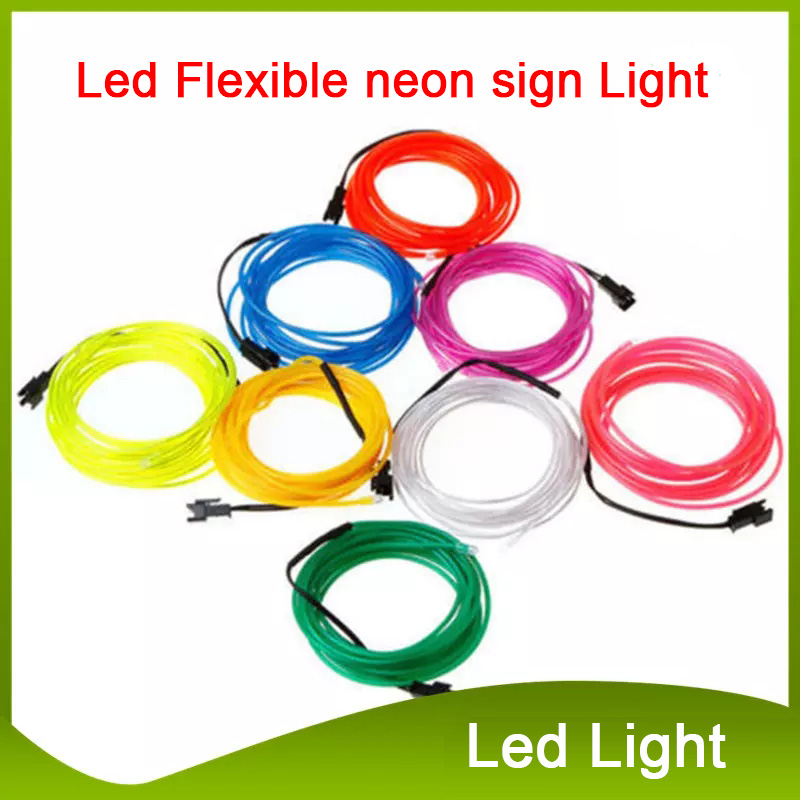 Green 9Ft Neon Light Glow EL Wire Rope Tube Car Bike Bar Dance Party Transparent