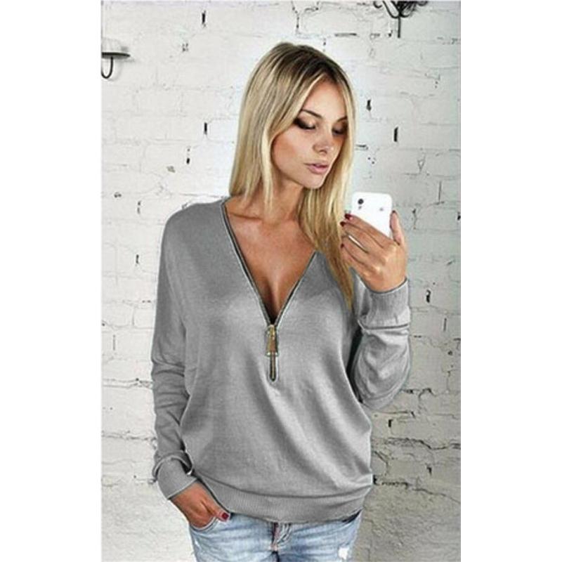 Women Sexy Fashion Batwing Sleeve Blouse Deep V Collar Zipper Sweater Long Sleeved T-shirt Plus Size S-5XL (15)