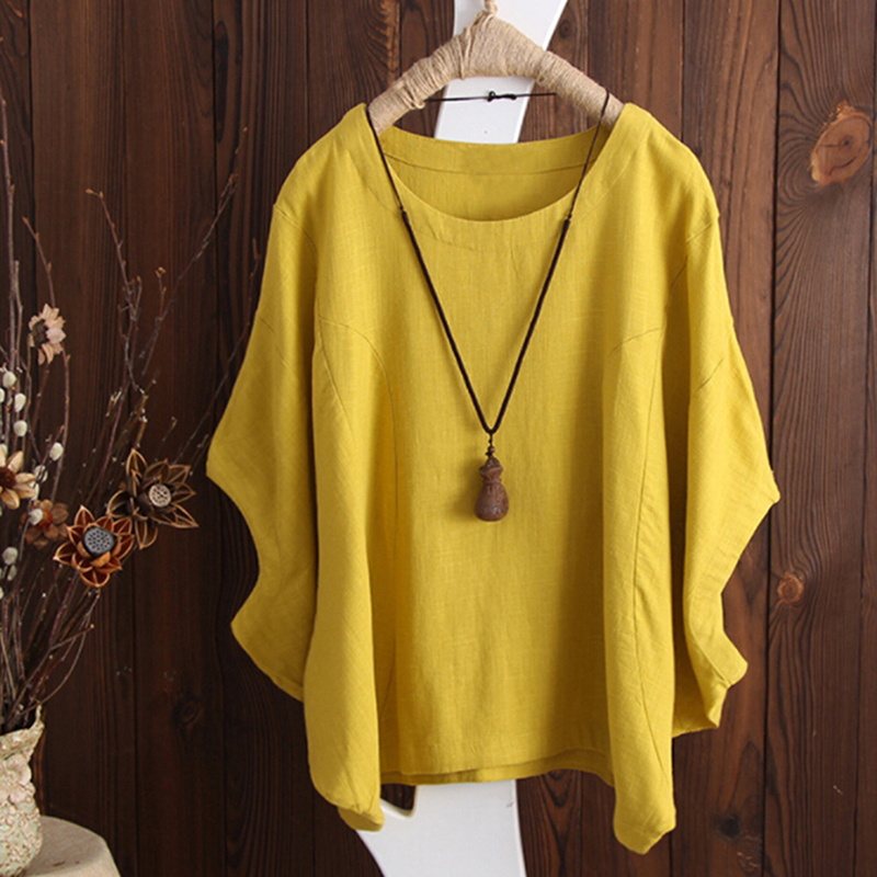 HNEGSONG Female T-Shirt Summer Women Batwing Sleeve Tshirt Solid O-Neck Short Sleeve Loose Tee Tops Women's Clothing 721387