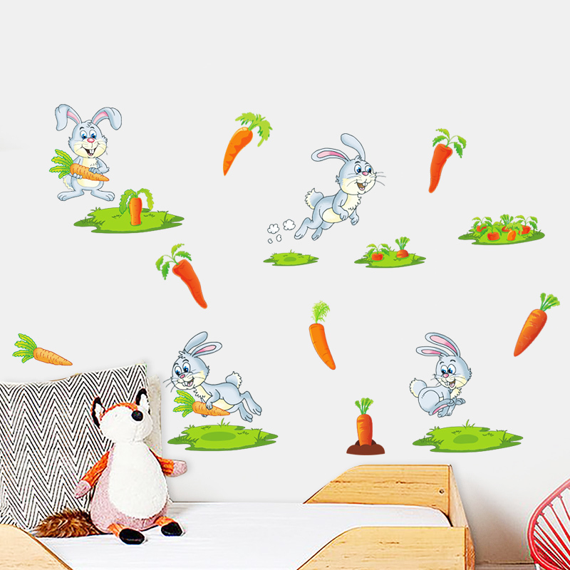Rabbit looking for carrots funny bunny decor diy poster for kids baby nursery home decal carton wall stickers mural wallpaperhaif