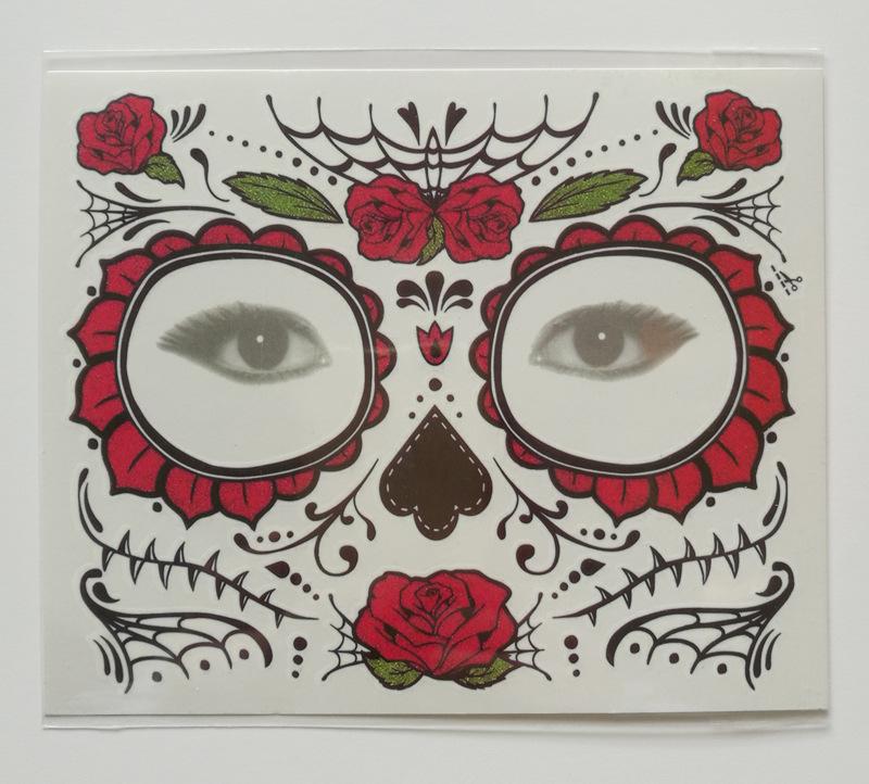 4 estilos Flores de Halloween Etiqueta Engomada Del Tatuaje Temporal Cicatrices Terror Patrón de Halloween Ojos Cara Impermeable Pegamento Autoadhesivo pegatinas FFA942