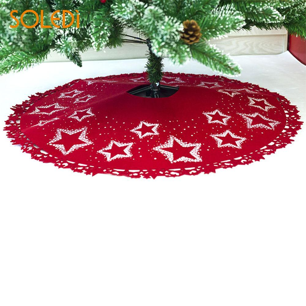 Christmas Tree Dress Christmas Tree Skirt Christmas Tree Stand Beautiful Soft Star Print Felt 100cm Hotel Party Decor Floor Mat