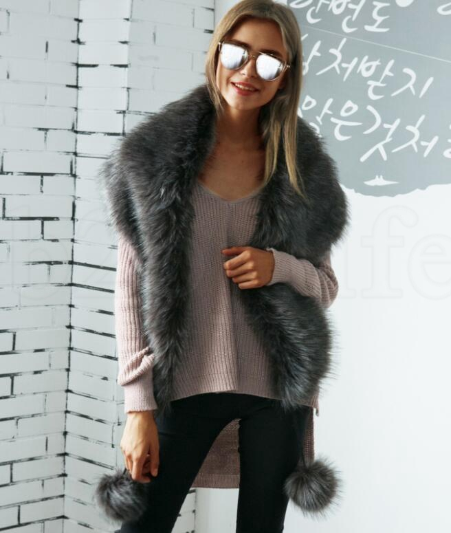 Faux fox fur scarves with faux fur color warm collar fur collar scarf Ladies Long Wrap Scarves KKA5929