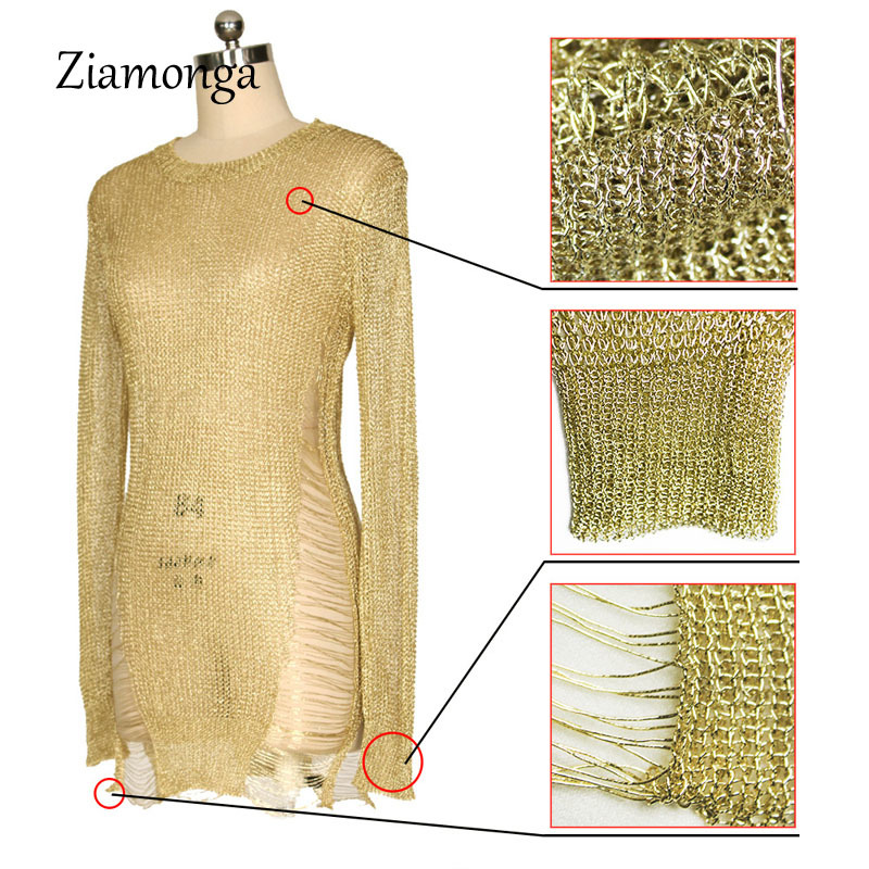 519c4a2e413 Ziamonga Gold Metallic Knitted Shredded Sweater Dress Popular ...