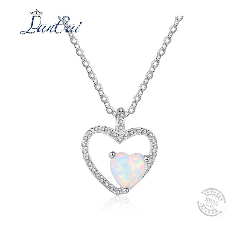 925 Plaqué Argent Opale de feu Amour Coeur Gemme Fashion Bijoux Collier Pendentif