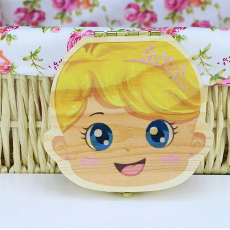Color Painting Baby Teeth Box Girls Boys Image Kids Milk Tooth Save Wood Boxes storage Organizer Creative Gifts for Children Trave Kit Toys