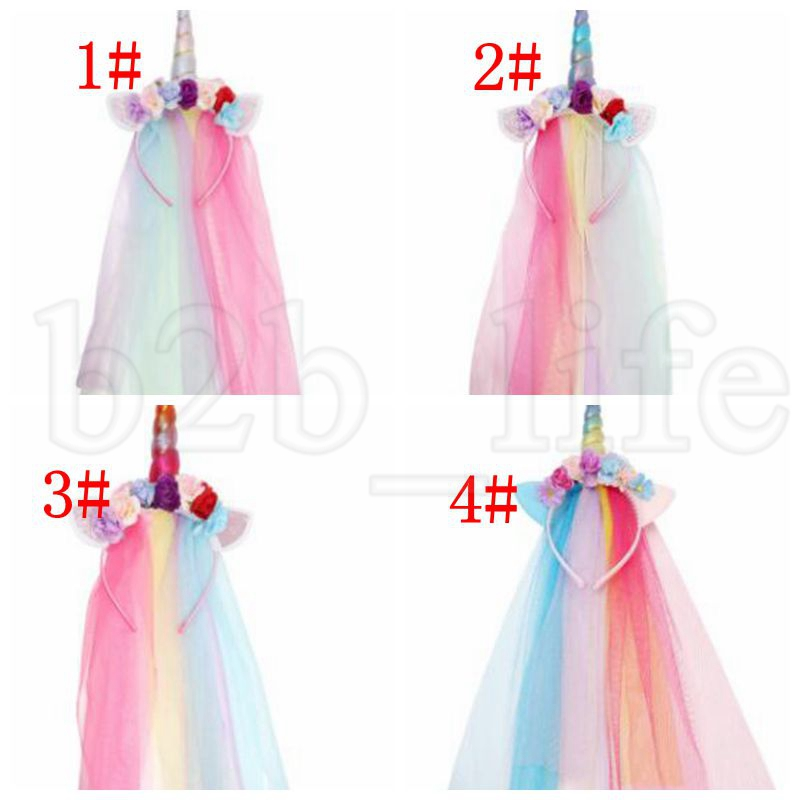Unicorn Floral Veil Headband Kid Birthday Party Hair AccessoryChristmas fashion tiara baby artificial flower headband KKA6147