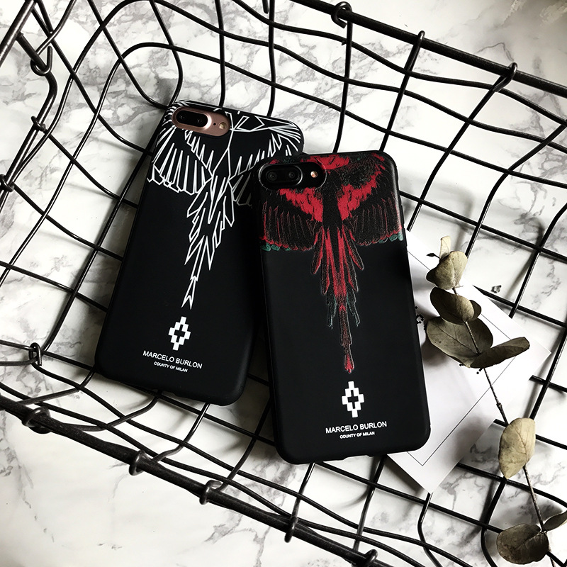 Hot Designer Phone Case Wing Scrub for IPhone X 6/6S 6plus/6S Plus 7/8 7plus/8plus Fashion Brand Print Phone Protection Red White
