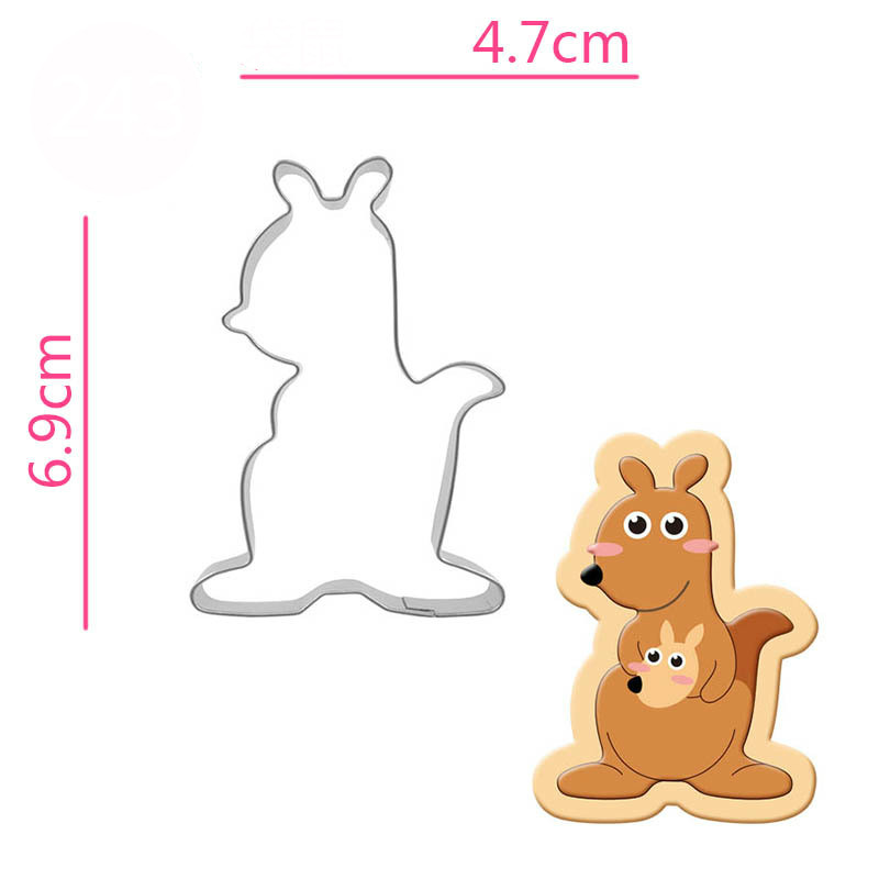 Stainless Steel Kangaroo Cookie Cutter Biscuit Press Stamp Mold Child Pasta