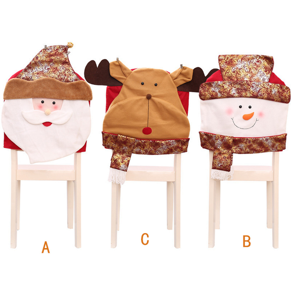 Christmas Santa Face Chair Covers Set Chair Back Dinner Table Decor christmas decorations for home Dropshipping