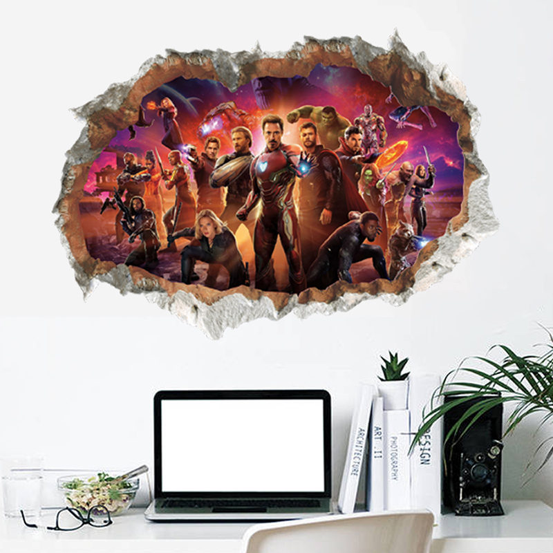 The Avengers Super Heroes 3D Wall Hole Stickers For Home Decorations Kids Nursery Rooms Decor PVC Living Room Mural Art Posterhaif