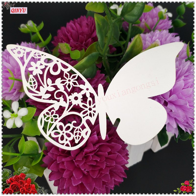 9*11cm Laser Cut Butterfly Wine Glass Card Name Place Cards Wedding Decoration Birthday Party Bridal Favors Supplies 6Z