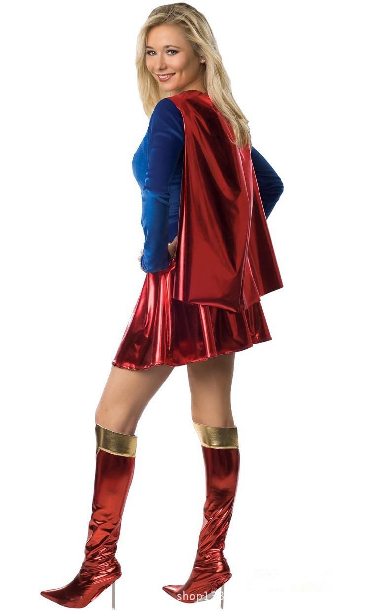 Sexy Delgada Superwoman Halloween Cosplay Traje Traje De Mujer Maravilla Vestido De Manga Larga Con Mantón Cubierta De Arranque Uniformes Adultos