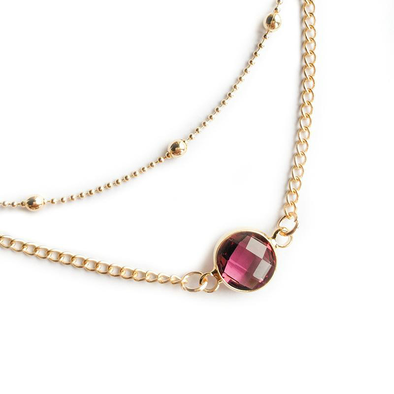 Pretty Natural Crystal Pendant Choker Necklace Multi-layer Bead Boho Alloy Gold Short Chain Necklaces Women Jewelry KKA2210