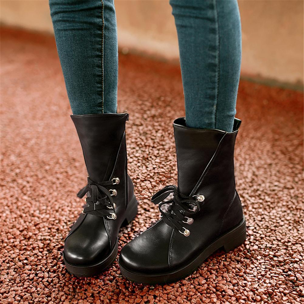 Atacado 2018 Inverno Tamanho Grande 34-43 Venda Quente Mulheres Western Ankle Boots Plataforma lace-up Botas De Pele Med Sapatos de Salto Largo Mulher