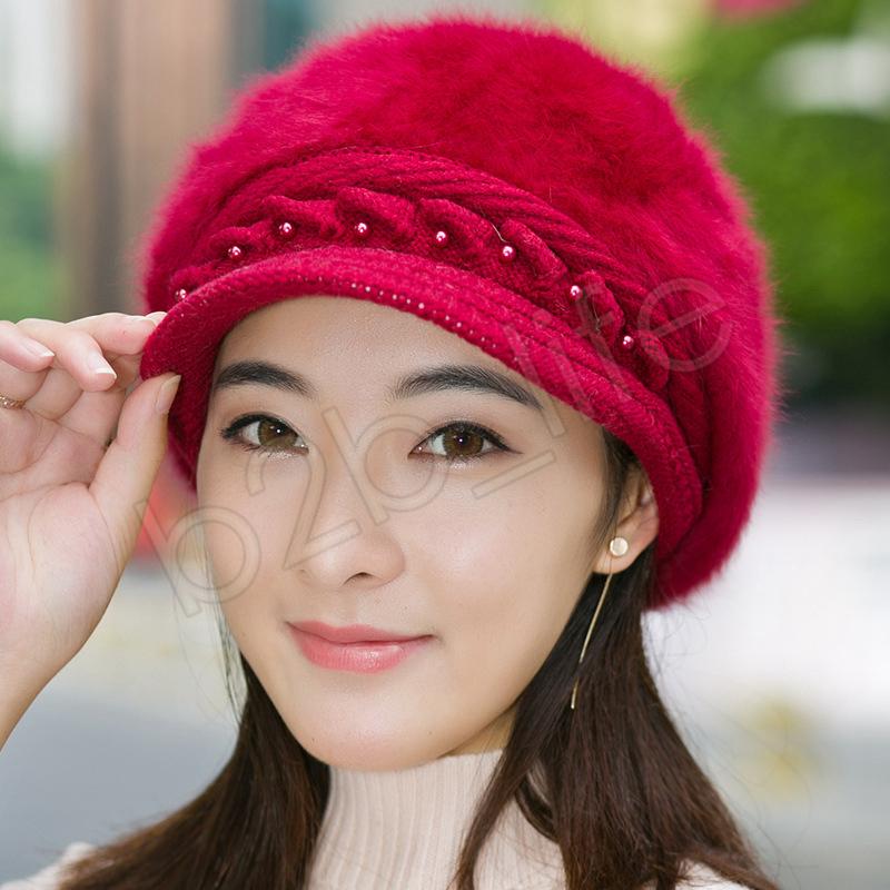 Lady Fashion Beanies de punto de piel de conejo en el interior del hilo de lana engrosado cálido otoño invierno mujer Solid Party sombreros boinas GGA1291