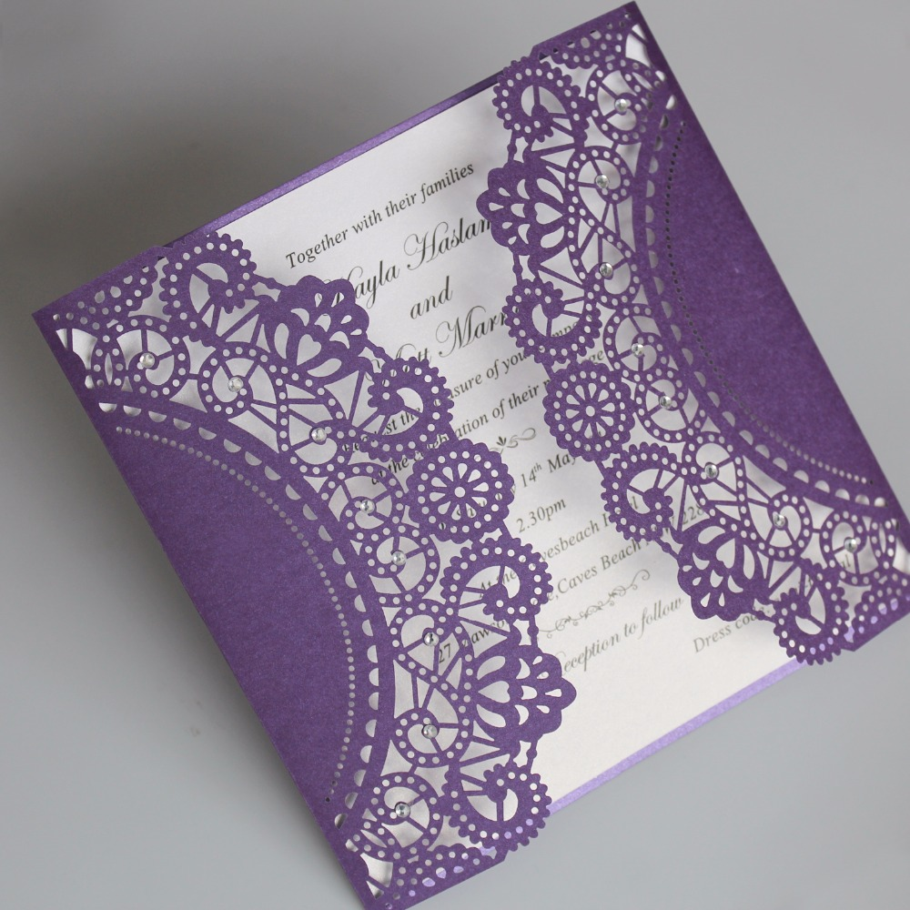 Purple Laser Cut Wedding Invitation