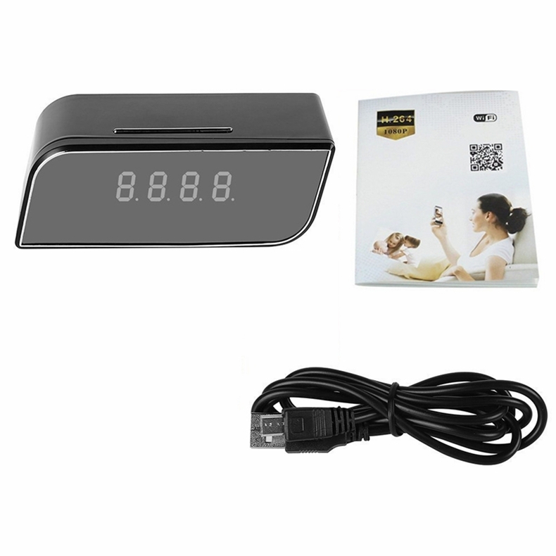 32GB 1080P Wifi Table Clock Camera Wireless Nanny Cam Mini Clock Video Recorder with Motion Detection Night Vision For Real Time Control Vie