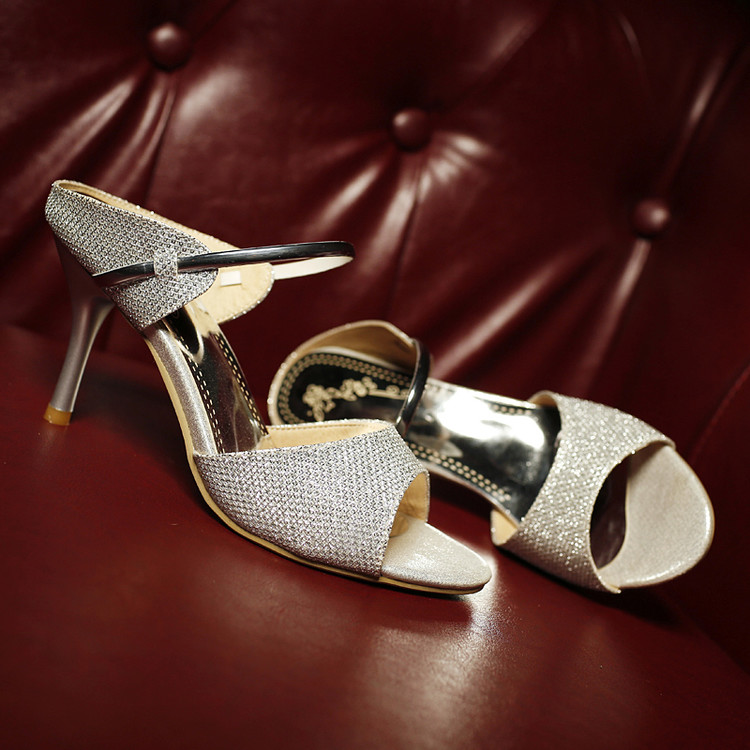 Summer Fashion Women's Bling Crystal Ankel Strap Middle Heels Sandals Sexy Style Ladies Shoes Gold Silver CerdaChic 2018