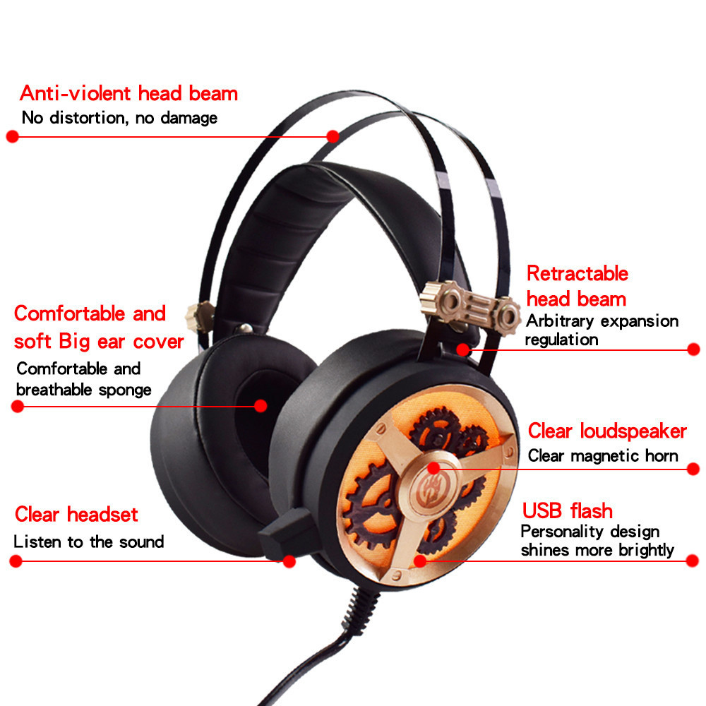 USB7.1 Usb Gaming Headset Mic Headphones Wired Microphone For Sony PS4 PlayStation 3.5mm Plugs Cable Soft Ear Pieces