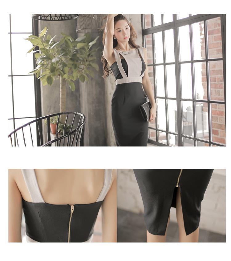 2019 Summer New Korean Women Stitching Round Neck Backless Holloowing Dress Temperamental Commuters Hip Mid Length Skirt A0064