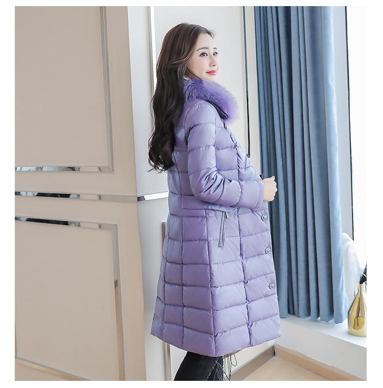 8300 Plus Size Faux Fur Collar Leather Jackets Women Slim Long Warm Down Fur Coat Elegant Top Quality Manteau Femme Hiver 5xl 2018 2