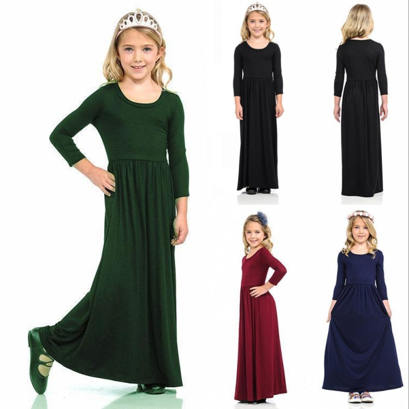 Girls Maxi Dress Kids Floral Long Sleeve Holiday Abaya Islamic Top Wedding Party