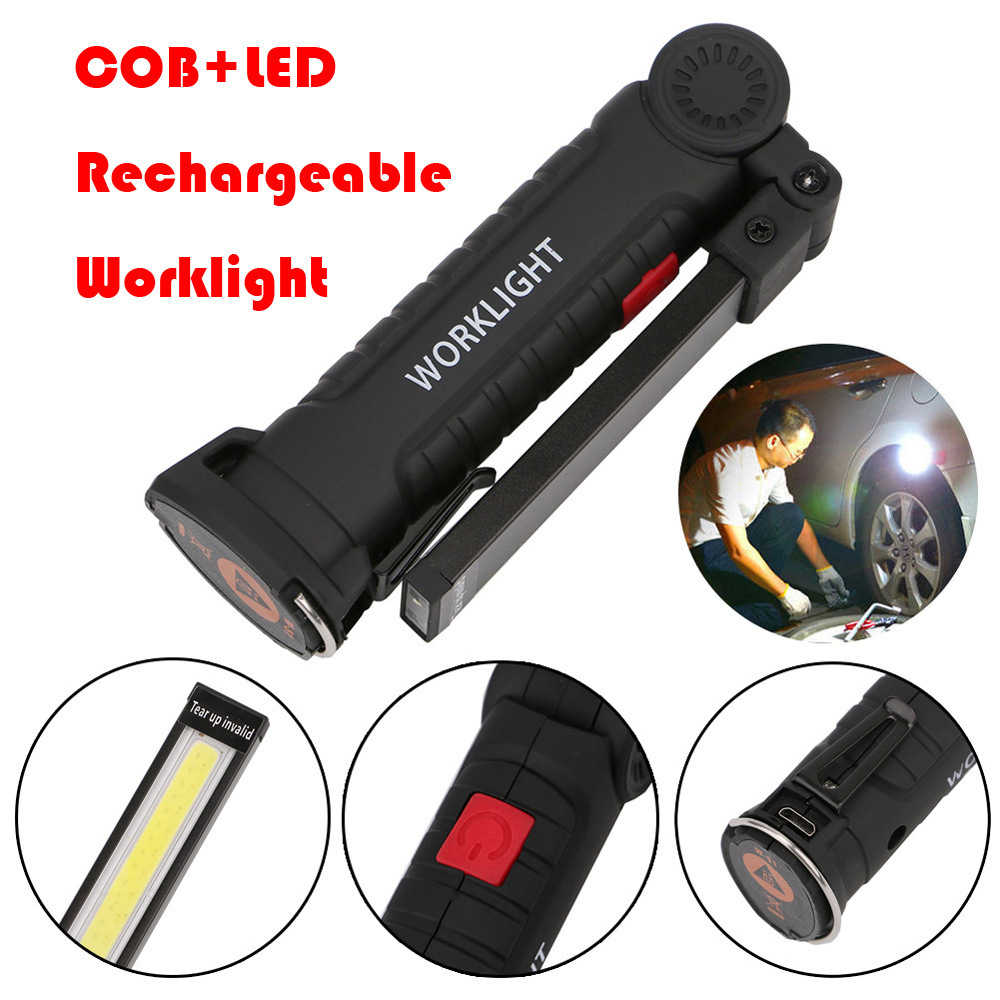 Portable 5 Mode COB Flashlight Torch USB Rechargeable LED Work Light Magnetic COB Lanterna Hanging Hook Lamp For Outdoor Camping Lighting
