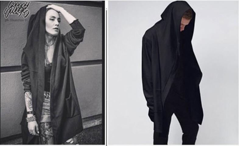 Homme Gothique loose coton manteau sans manches Punk Cardigan Cape Longue Manteaux Veste