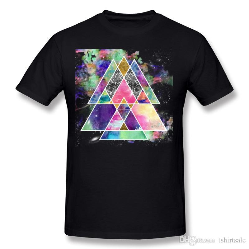 High Quality Man 100% Cotton Cool abstract geometric triangles watercolor T Shirt Man O-Neck Yellow Short Sleeve T Shirts Plus Size Simple S