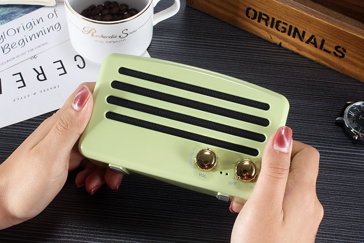 4styles Bluetooth Speaker vintage mini Classic Style Rich Bass Radio Loud Stereo Sound System Portable Wireless Speaker car decor FFA1030