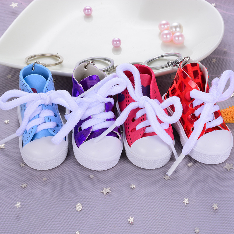 I LOVE YOU Colorful Women's Shoes Key Chains for Lovers Small Canvas Shoes Car Keychain Silver Plated Shoe Keyrings Key Holder