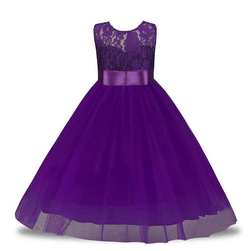 Çiçek Kız Dantel Prenses Elbise Çocuklar Parti Pageant Düğün Gelinlik Tutu Elbise Çocuklar Kızlar Için Elbiseler Giysi 4-14Y