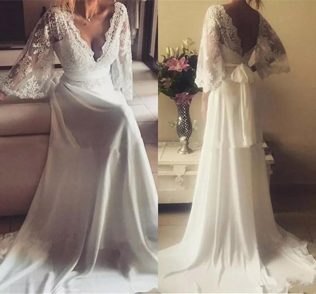 Elegant Spitze Chiffon Land Brautkleider mit Ärmeln Greek Style Plus Größe  Bohemian Zustell mit V-Ausschnitt Brautkleider Weinlese