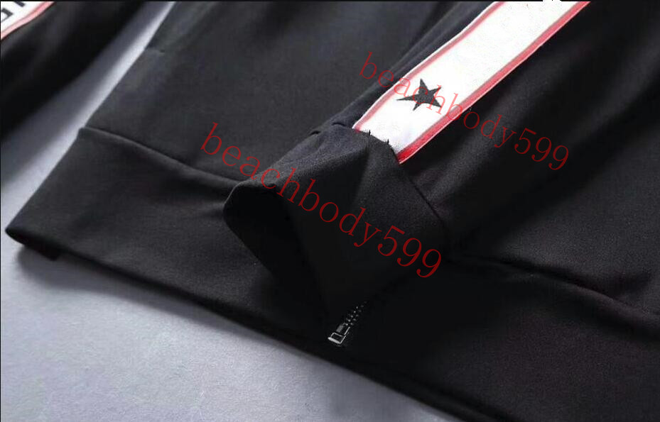 2018 spring and fall mens luxury designer high quality white and black tracksuits ~ tops star letter mens training jogging sweat track suits