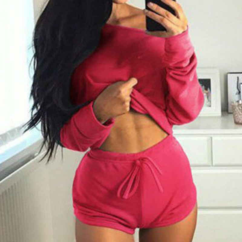 Summer 2018 Sexy Women Two Pieces Slash Neck Hoodies Tops Cotton Drawstring Shorts Lady Spring Casual Suit Plus Size Mujer