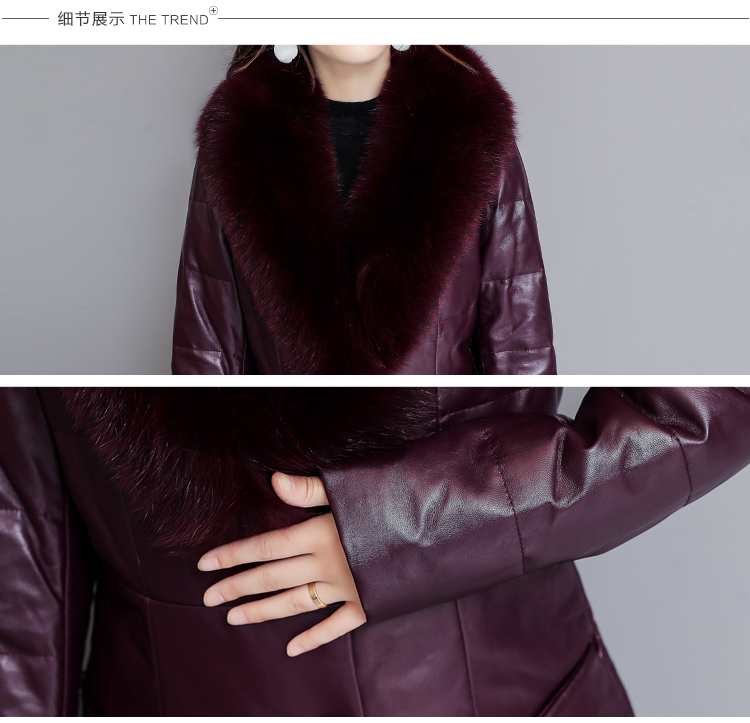7253 Genuine Leather Jacket Women 2018 Winter Warm Down Faux Fur Coat Plus Size Long with Fox Fur Collar Elegant Luxury Coat Women 12
