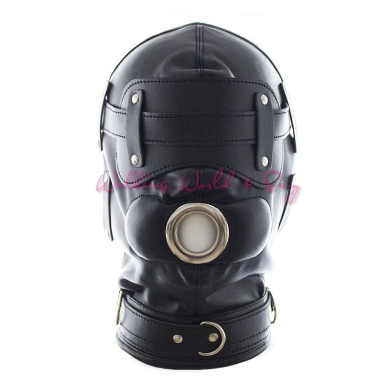 Soft Pu Leather Mask Bondage Hood With Adjustable Dildo Gag Blindfold Fetish Cosplay Slave Mask Adult Game Sex Toys For Couples (6)