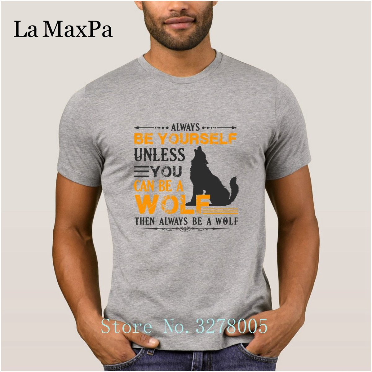 La Maxpa Customize Famous Always Be A Wolf Men's T Shirt Funky Slim T-Shirt Mens 2018 Plus Size Male Tee Shirts For Men Tee Tops