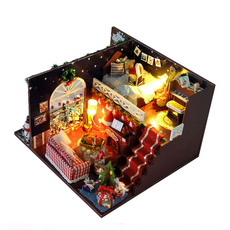 Christmas Eve Party Tree House Miniature DIY Kits Wood Doll House Furniture Dollhouse Model Assembling Toys for Kids Gift
