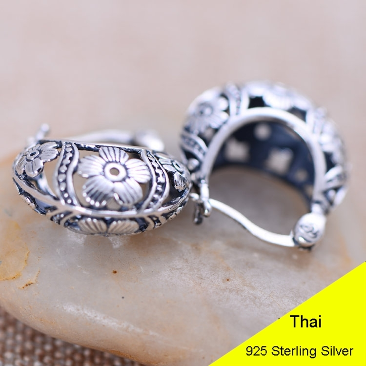 925 Sterling Silver Hollow Fashion Flower basket Clip Earring Women Vintage Thai Silver Gift Brincos Aretes Jewelry CH051070 S18101307