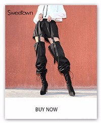 Sweetown Plus Size Gothic Cargo Pants Women Black Casual Loose Detachable High Waist Trousers With Plastic Buckle Hip Hop Pants