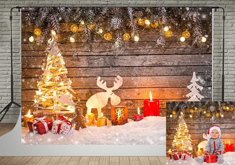 Kate 8x8ft Christmas Backdrop for Photography White Brick Fireplace Bear Christmas Tree Santa Backgrounds