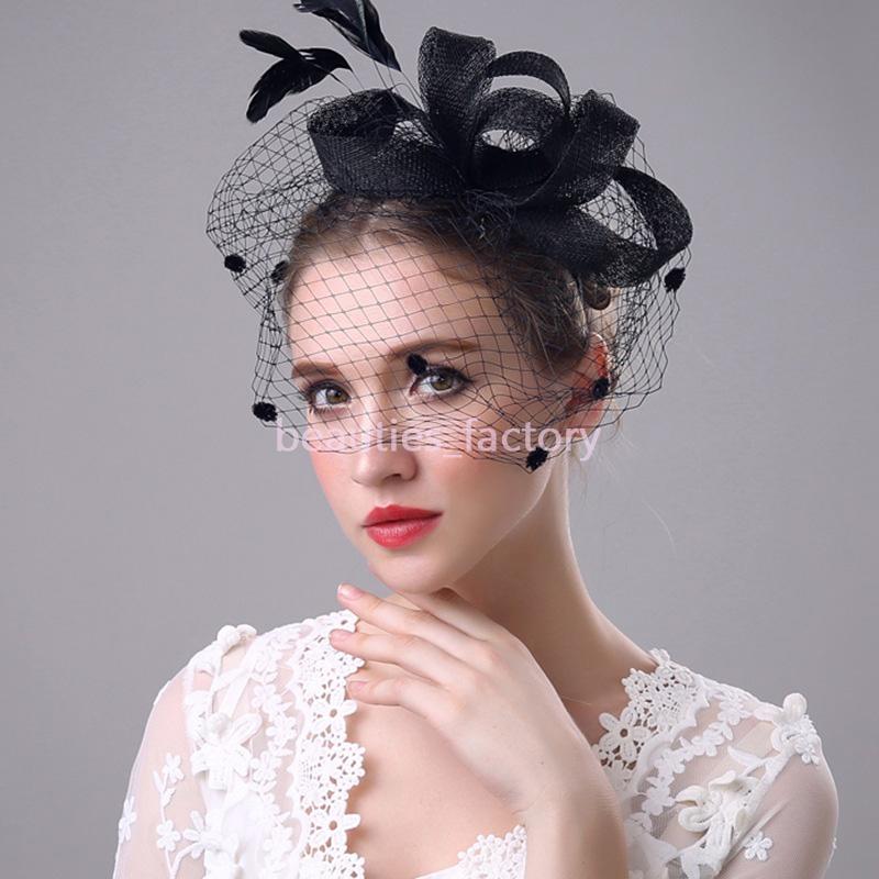 Velo de novia Birdcage Plumas de plumas Peine Blush Tulle Novia Boda Sombreros Cara Topknot Velos Hots Sombrero