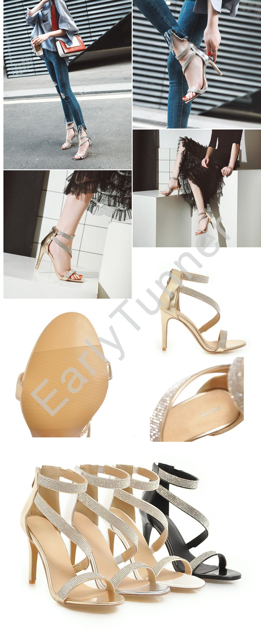 Brand New Summer Glamour Gold Silver Women Bridal Sandals Super High Heels  Sexy Crystal Lady Shoes EH853 Plus Big Size 10 43 c9e3547792e5